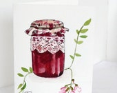 Mason Jar Thank you card - original watercolor card