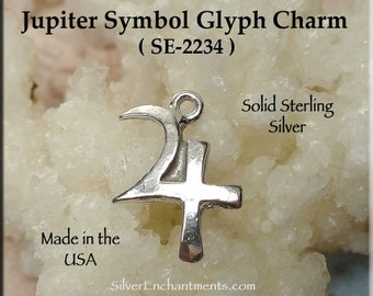 Sterling Silver Jupiter Symbol Charm, Astrological Planetary Glyph, Jupiter Planet Necklace, Zodiac Jewelry - Sagittarius / Pisces - SE-2234