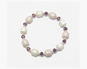 Bracelet, Paper Bead Bracelet, Bead Bracelet, Handmade Bracelet, White Beads, Paper Bead Jewelry, Paper Beads, White Bracelet