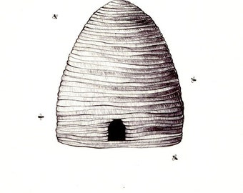 "Beehive art print of an original drawing available 5x7"" or 8x10"""