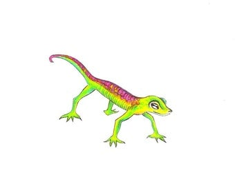 """Gecko Print: Digital print of an original drawing available 5x7"""" or 8x10"""""""