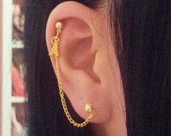 Tiny Eiffel Tower Double Lobe/Cartilage Chain Earring