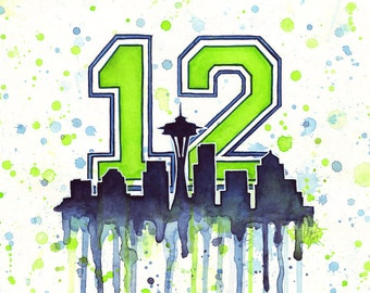 Seattle Seahawks 12th Man Fan Art, Watercolor, Skyline, Space Needle, Go Hawks, Art Print