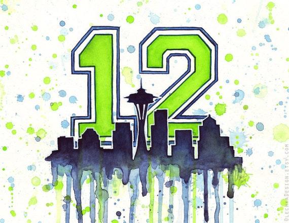 Seattle 12th Man Fan Art, Watercolor, Skyline, Space Needle, Go Hawks, Art Print