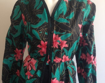 Floral 80s Silk Blouse Top Size 14