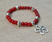 Red Boho Stacking Bracelet, Silver Tibetan Beaded, Flower Charm, Bohemian Chic Stretch Stacked Fashion Jewelry Paisley Beading Free Shipping