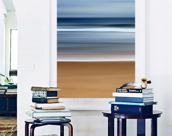 Abstract Beach Photo Large Wall Art Navy Blue Grey Beige Brown White Nautical Art Sea Stripes Seascape Photography Coastal Art Ocean Waves