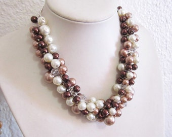 Pearl Wedding Necklace, Pearl Cluster Necklace, Bridesmaid Necklace, Pearl Necklace, Bridesmaid Jewelry in Ivory Bronze Mocha and Champagne