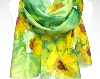 Sunflowers Scarf. Green Silk Scarf. Floral Hand Painted Silk Shawl. Anniversary Gift. Genuine Art on Silk. Woman Gift. 18x71in MADE to ORDER