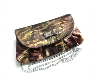 Hand Painted Purse Handbag. Painted Silk Bag. Art Purse. Women Evening Bag. Gold Clutch Bag. Gift for Her. OOAK Bag. Ready to Ship.