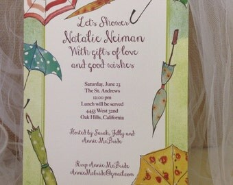 Invitations  - BRIDAL or BABY SHOWER Personalized - Showers of Happiness with Umbrellas- customize your font and font color