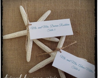 PLACE CARD with Starfish - Personalized  Single Layer Beach Wedding Escort Card - Any Occasion!- Personalize Names, Colors, Ribbon or Twine