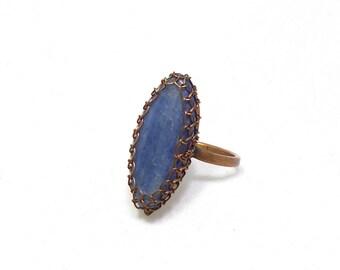 Kyanite ring, kyanite copper ring, marquise ring, blue ring, fashion ring, blue kyanite ring, wire wrapped ring