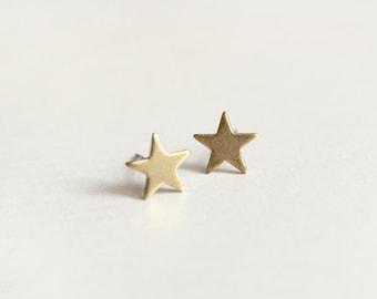 tiny star earring studs - dainty, minimalist, brass jewelry / gift for her stocking stuffer