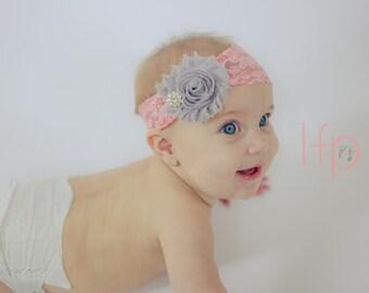 Baby headband, Wide lace headband, Pink and grey hair bow, newborn headband, infant headbands, toddler headband, boutique headband, baby bow