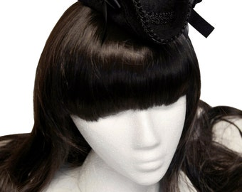 Black with Venice Lace Mini Tricorn Pirate Lass Hat - Made to Order