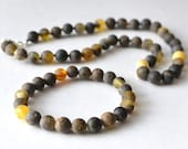 Natural Amber Necklace and Baltic Amber Bracelet Gift For Her Organic Jewelry Set