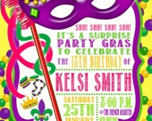 Custom Personalized Mardi Gras Birthday Party Invitation Digital File You Print Purple Green Gold