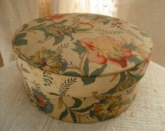 French Vintage,Boudoir  Box , Fabric Covered Box , Parrot Tulips ,Flowers Fabric ,Covered  Box, Shabby Chic,   Paris Boudoir Printemps Paris