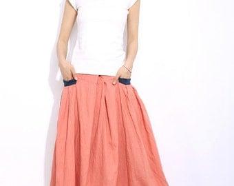 Summer Linen Maxi Skirt C337