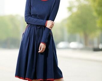Long dress women blue cotton dress C339