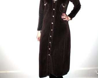 90s Brown Velvet Maxi Sweater / Dress / Coachella