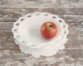 Vintage Milk Glass Bowl Anchor Hocking white Old Colony country cottage farmhouse mid century