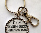 "Spanish Version for Father of the Bride Gift Keychain ""Father Thank you for always being there for me today and always"" bride daddy daughter"
