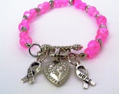 Pink Breast Cancer Awareness Beaded Charm Bracelet - InnateExpressions