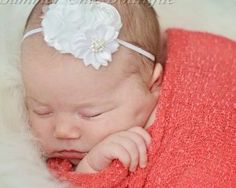 White BabyHeadband, Infant Headband, Newborn Headband, Christening Headband, White Baptism Headband