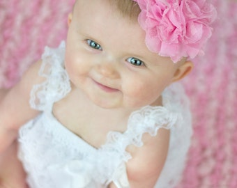Baby Headband, Infant Headband, Newborn Headband - Medium Pink Headband  Frayed Chiffon and Lace Flower Headband, Easter Headband