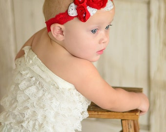 Christmas Headband, Red Baby Headband, Infant Headband, Newborn Headband, Red Triple Chiffon Flower Heeadband,  Red Chiffon headband