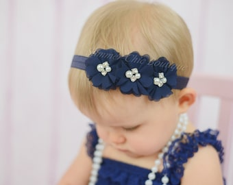 Navy Baby Headband, Infant Headband, Newborn Headband -Navy Headband, Navy Headband,Chiffon and Pearls Flower Headband