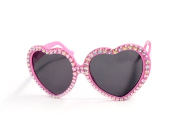 Baby Pink Rhinestone Heart Sunglasses - Sparkly Heart Shaped Glasses - Pastel Pink Rainbow Glitz Sunglasses - Kawaii Lolita Bling Sunglasses