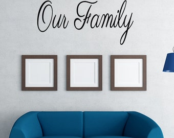 Our Family Vinyl Wall Decal Quotes Home Sticker Decor (JR330)
