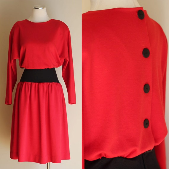 Vintage 80s Red Long Sleeve Knit Dress - Red & Black Picture Me Neiman-Marcus Dress - Buttons Up Back - Size Medium