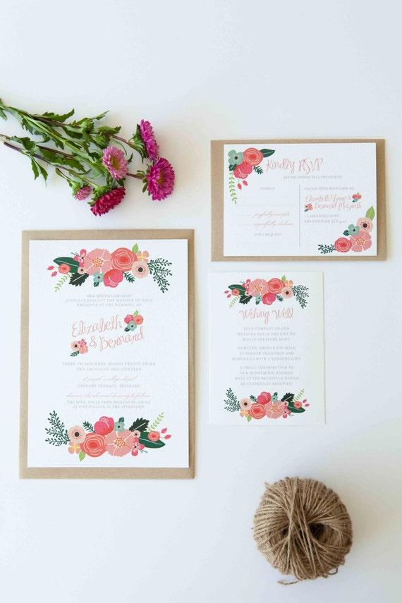 DIY Printable Wedding Invitation Botanical - 4 pieces