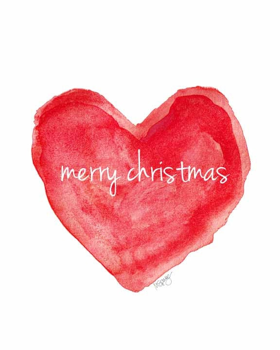 Christmas heart merry art holiday by