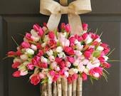 spring wreath Easter wreath front door wreaths tulip wreaths for front door decorations pink white welcome wreaths birch bark vases
