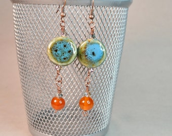 Turquoise and Tangerine or Blue and Orange with copper dangle earrings