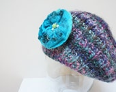 Slouch hat tam rasta beanie beret dread slouchy cap oversized knit Felt Blue Rose Flower Brooch Pin chunky handmade Wool Purple Blue Pink