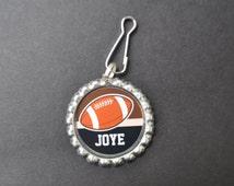1 Personalized Football Bottlecap Zipper pulls,GLITTER or Plain, football gifts, football, football gift, football bag tag, team gift