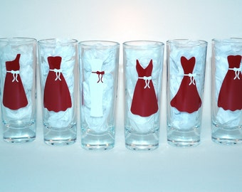 6 Bridesmaids Glasses - Personalized Shot Glasses - Wedding Party Glasses - Bridesmaid Gifts