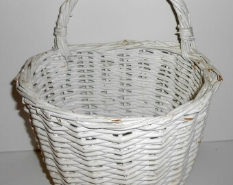 Vintage Wicker Basket, White, Wall Hanging Basket, Woven, Shabby, Basket with Handle, Wicker Basket, Craft Supplies, Craft Basket