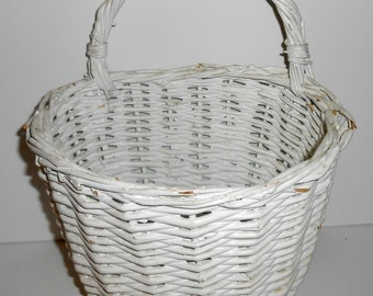 Vintage Wicker Basket, White, Woven, Shabby, Basket with Handle, Wicker Basket, Craft Supplies, Craft Basket