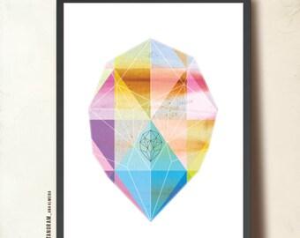 """Geometric art print, Minimalist Art Poster Print A3. """"A Gem is Born"""" Wall Art, Abstract Jewel. Precious Stone, Violet, Blue"""