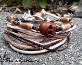 Men's Skull Bracelet / Boho Wrap Style / Vegan Handmade Masculine