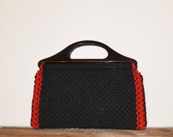 Crochet Purse Clutch Purse Boho Clutch Purse Black Purse Black Red Purse 70s Crochet Clutch Purse