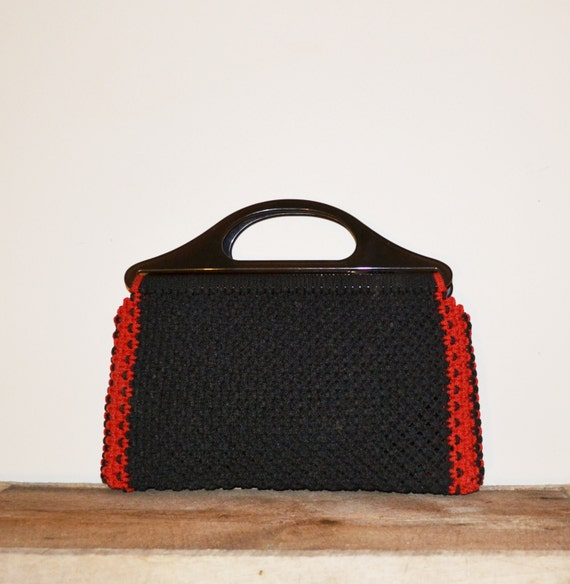Crochet Clutch Purse : Crochet Purse Clutch Purse Boho Clutch Purse Black Purse Black Red ...