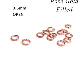 SALE Rose Gold Filled Jump Rings 3.5mm OPEN 22 gauge 20 pcs RZ111